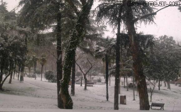 Пустые парки и скверы, пустынные улицы - все засыпано снегом. Стамбул, Турция, январь 2012.