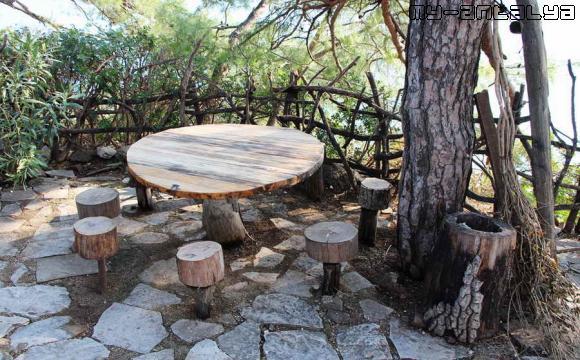 Посидеть можно и за такими столиками на таких вот пенёчках.